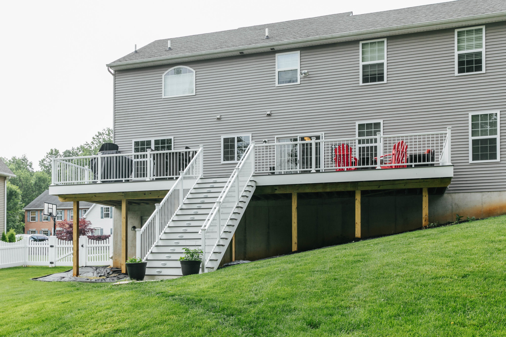 TimberTech deck with white aluminum railing