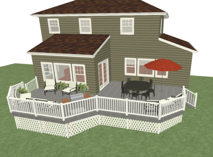 3D rendering of backyard deck