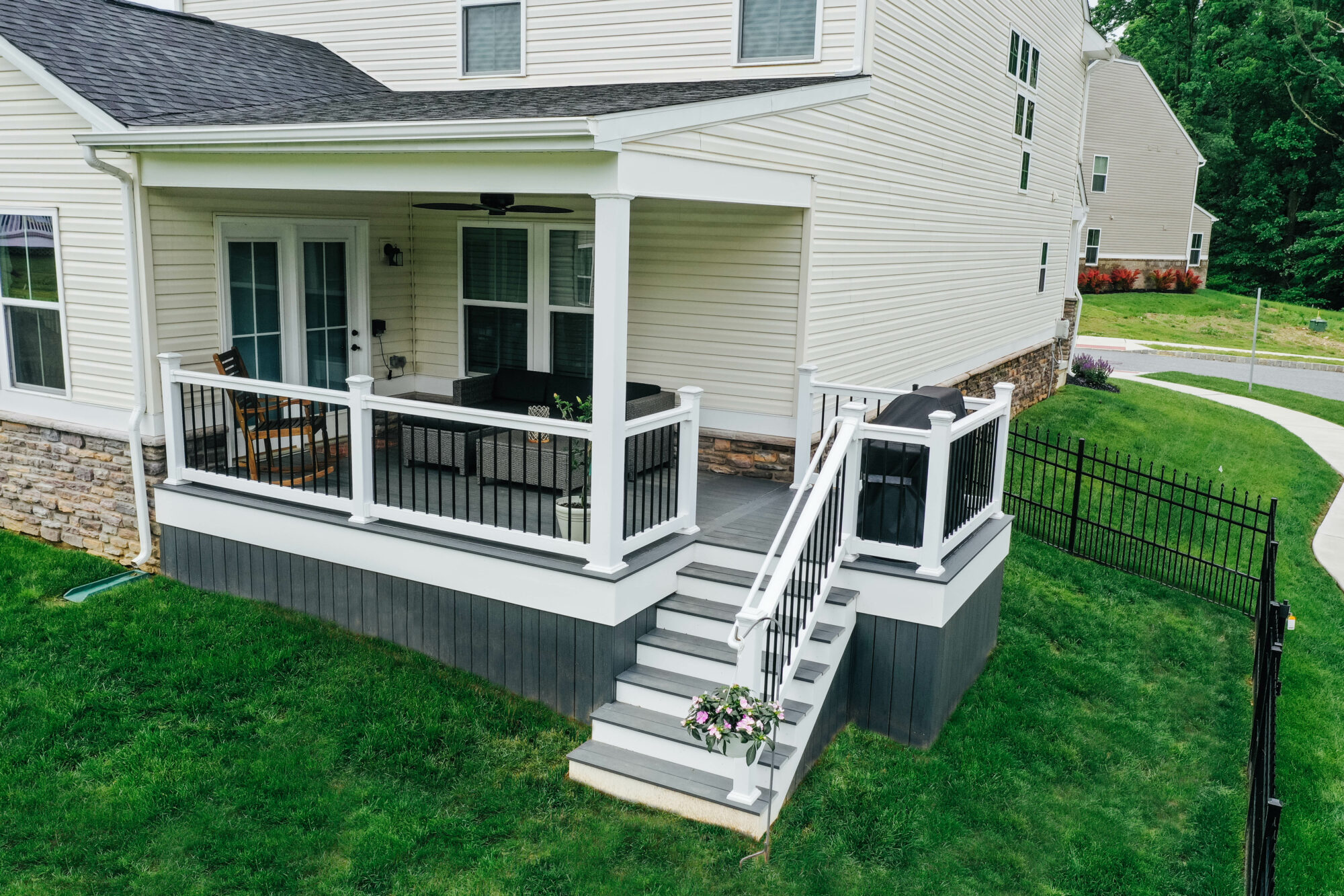 TimberTech Covered Deck with Vinyl railing