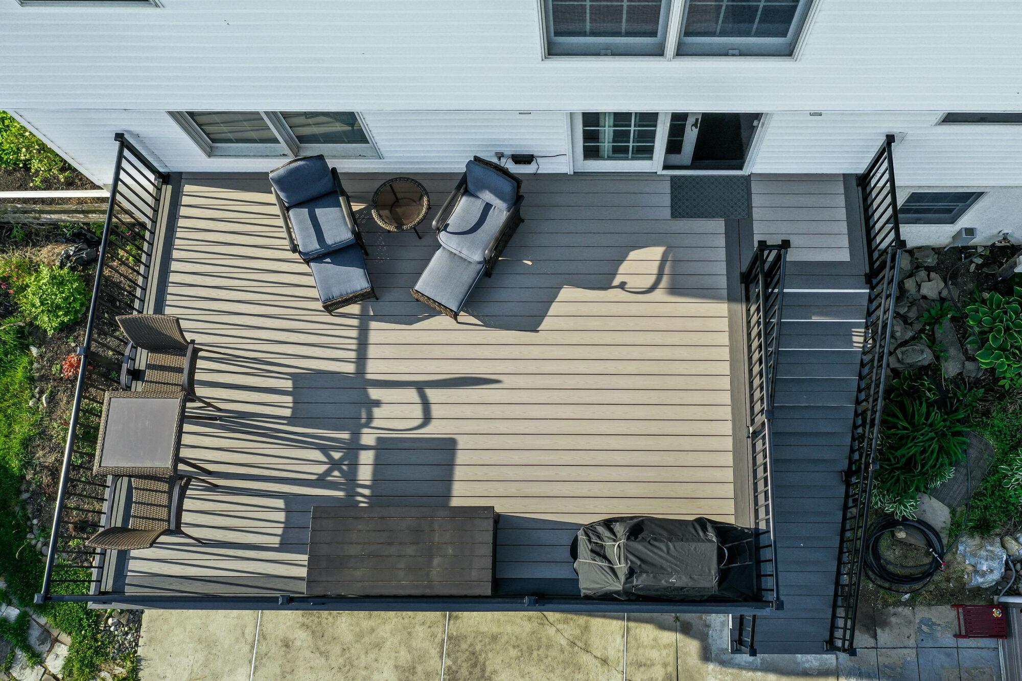 Sun Deck, TimberTech Azek Slate Gray Island Oak Wesbury Railing Black Aluminum sun deck pool deck water management system