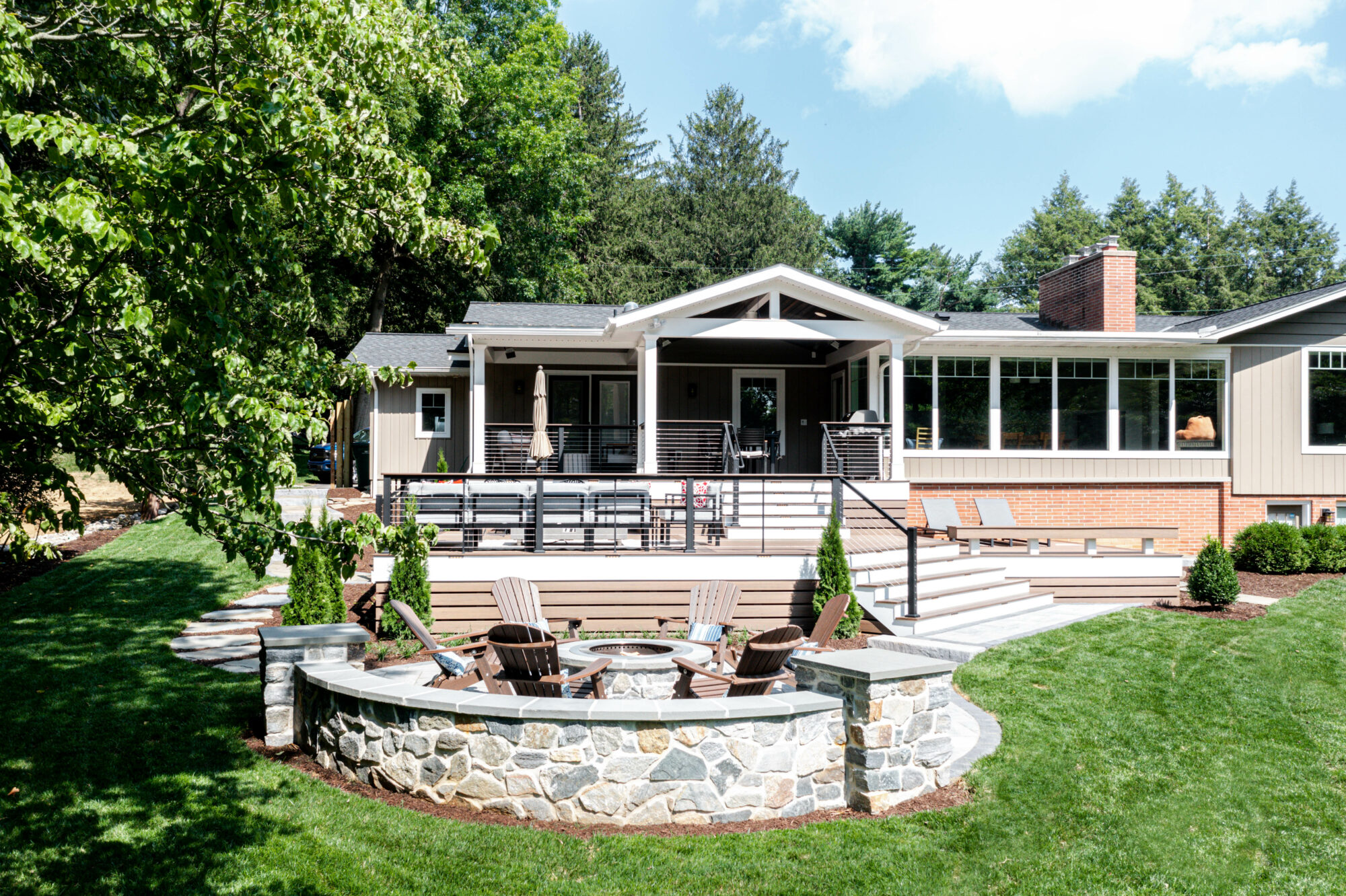 Multi-Level deck, Modern Deck, Pecan, Mocha, Drink Rail, Cable Railing, Modern Railing, TimberTech, Decking, outdoor living, Techo block, patio, fire pit, breeo, roofed deck, porch, cover porch, pine ceiling, outdoor heaters, outdoor dining,