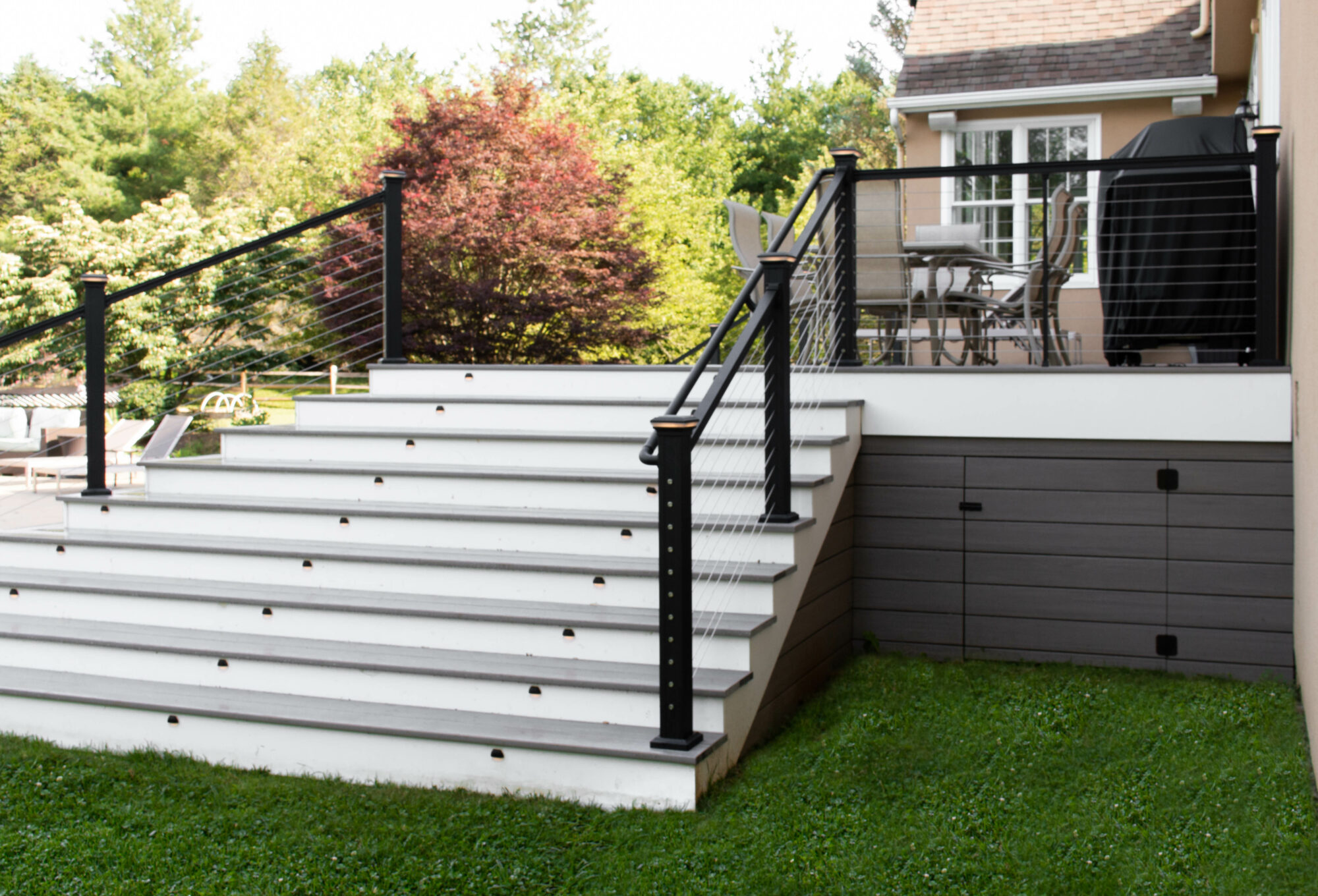 Azek deck with cable railing