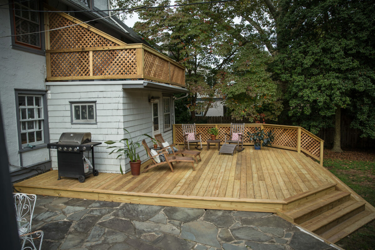 ground level treated deck