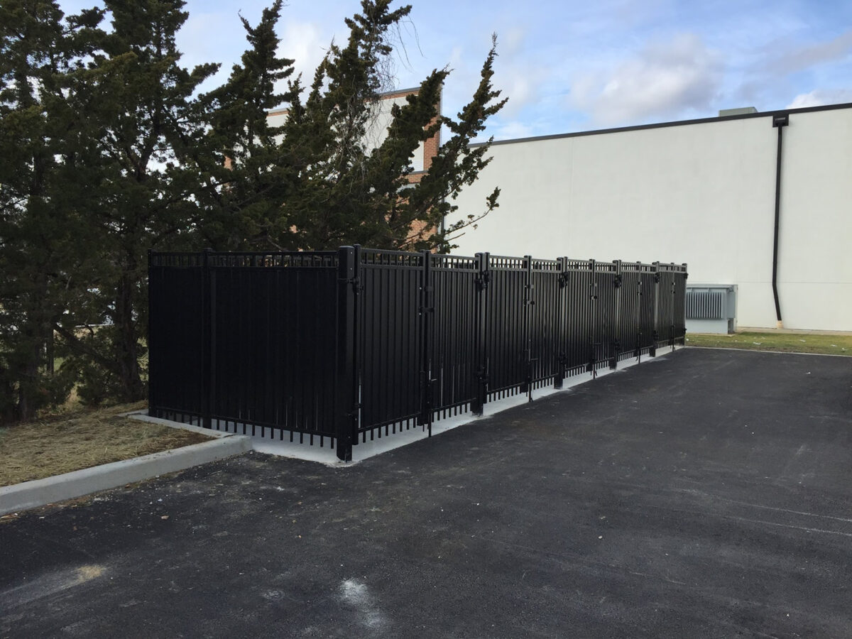 black steel security fence for trash enclosures