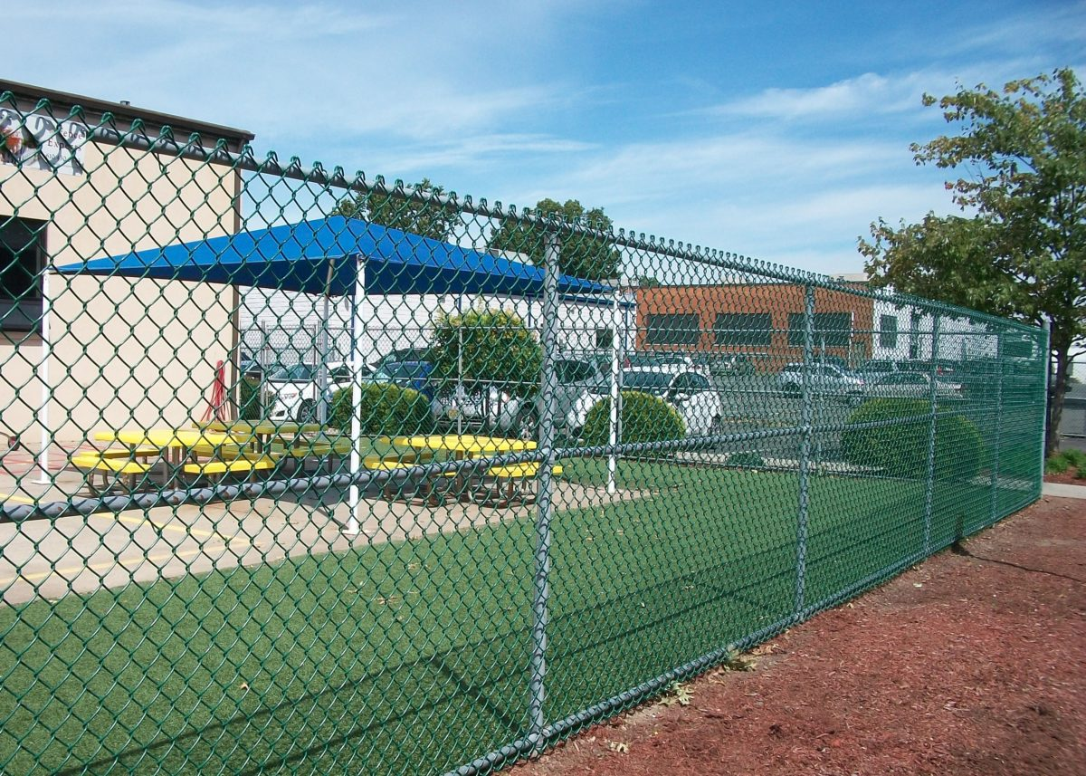 Chain link fence around playground