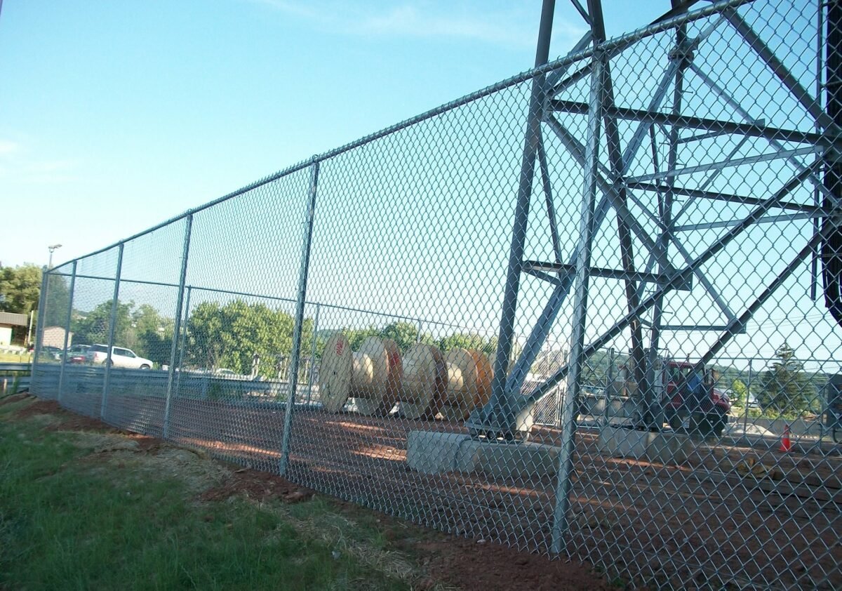 Chain link fence around tower