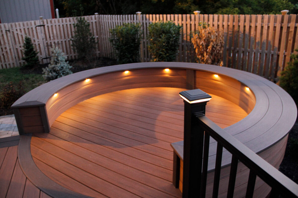 lighted semi-circle on deck