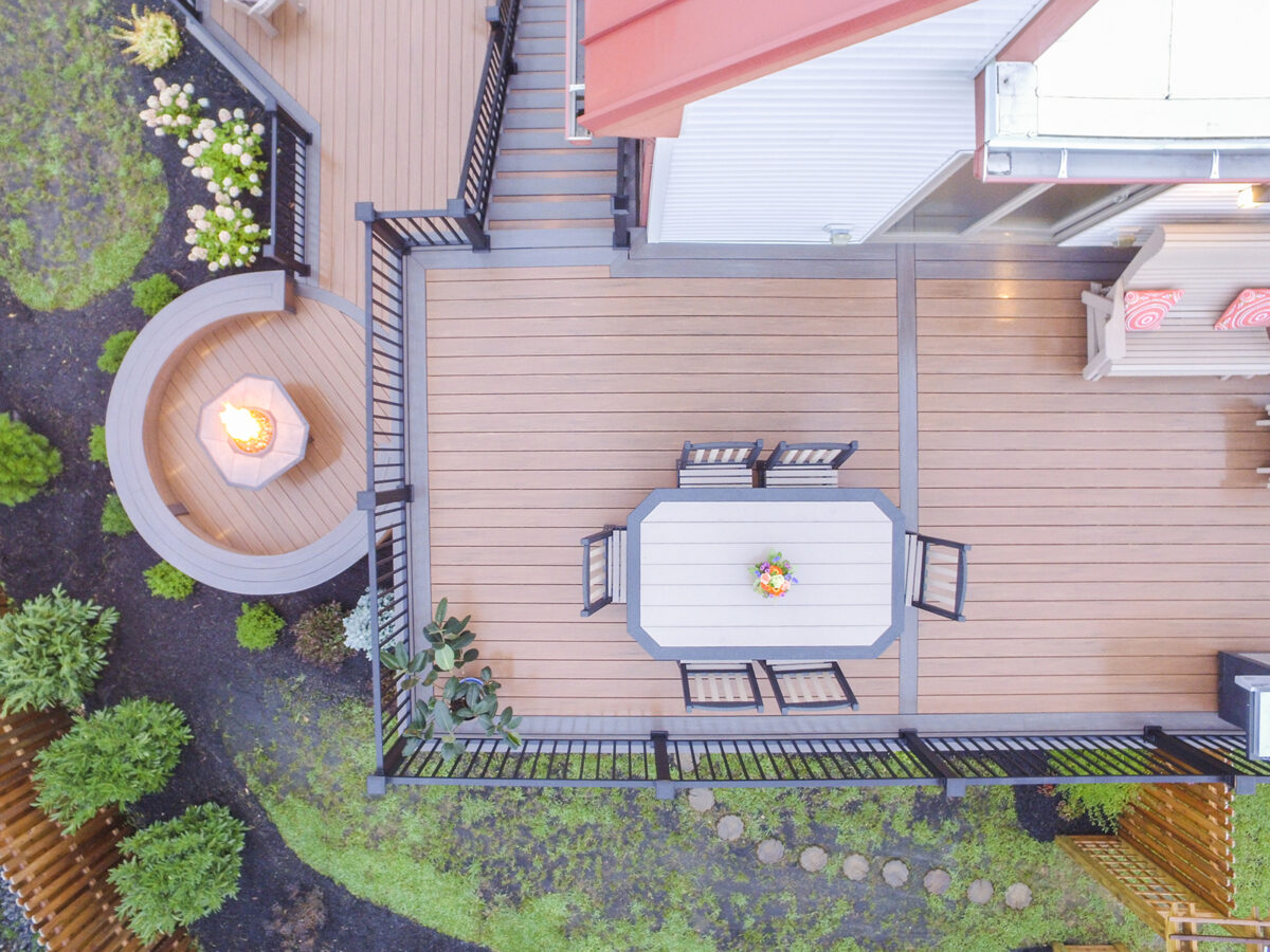 two level deck with furniture