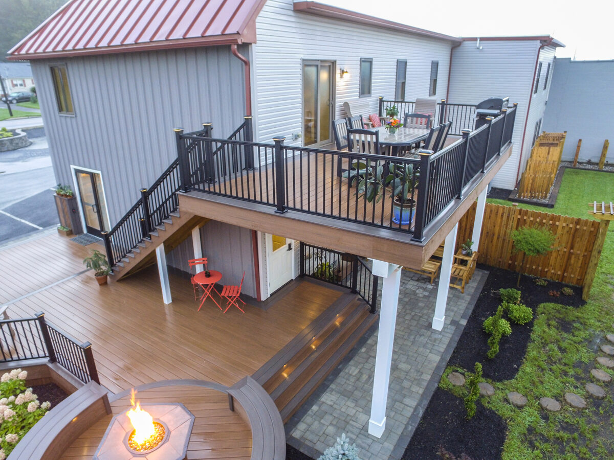 two level deck with lower fireplace