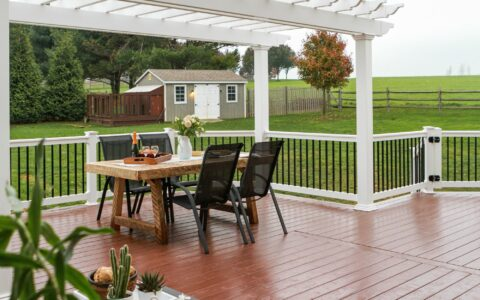deck with chairs and patio table