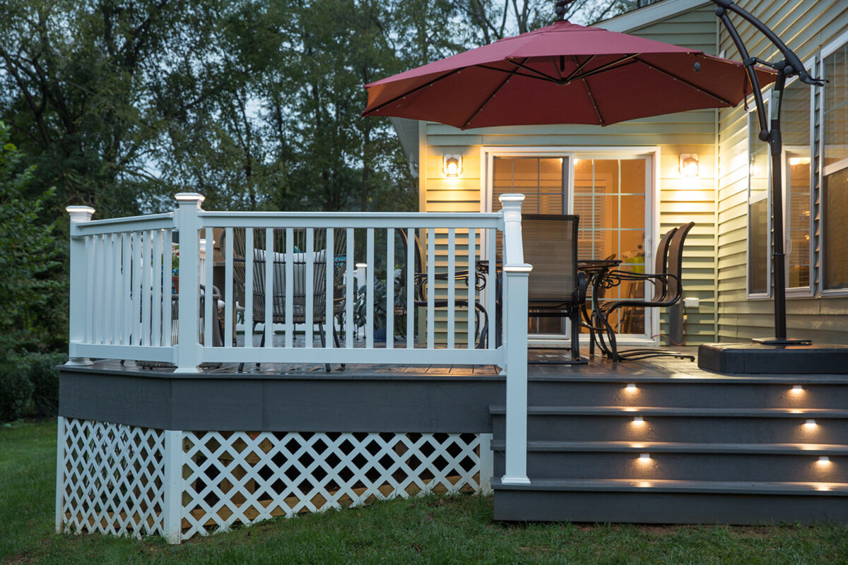 lighted deck stairs