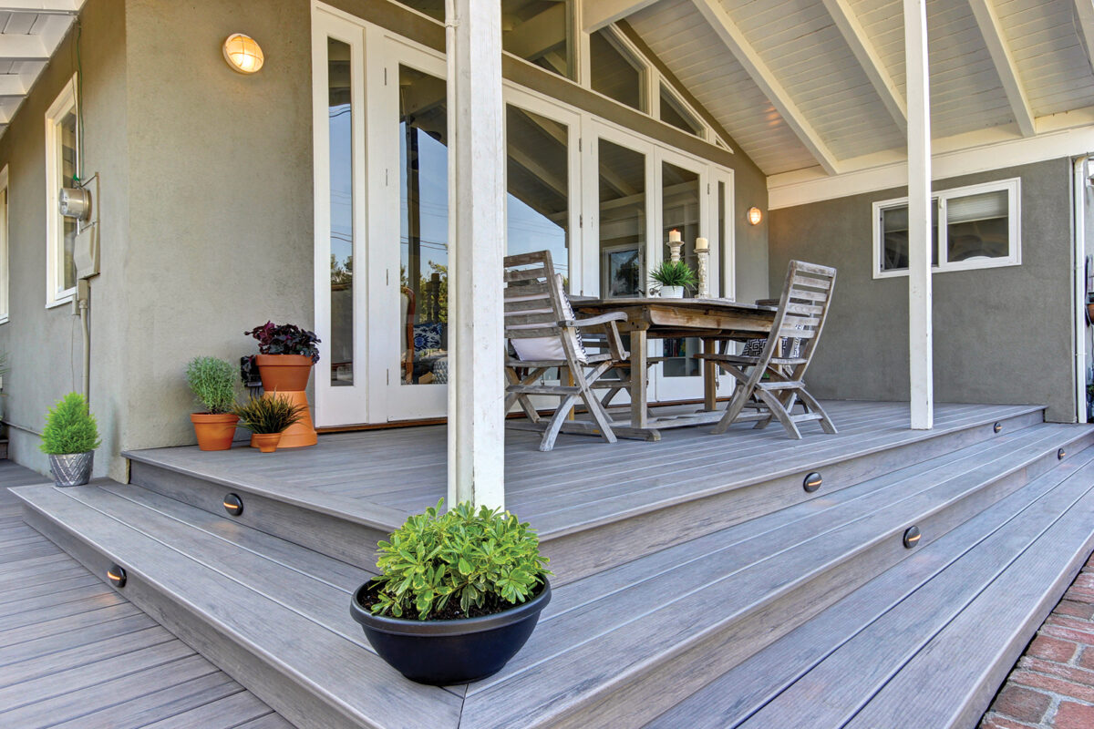 white covered patio deck
