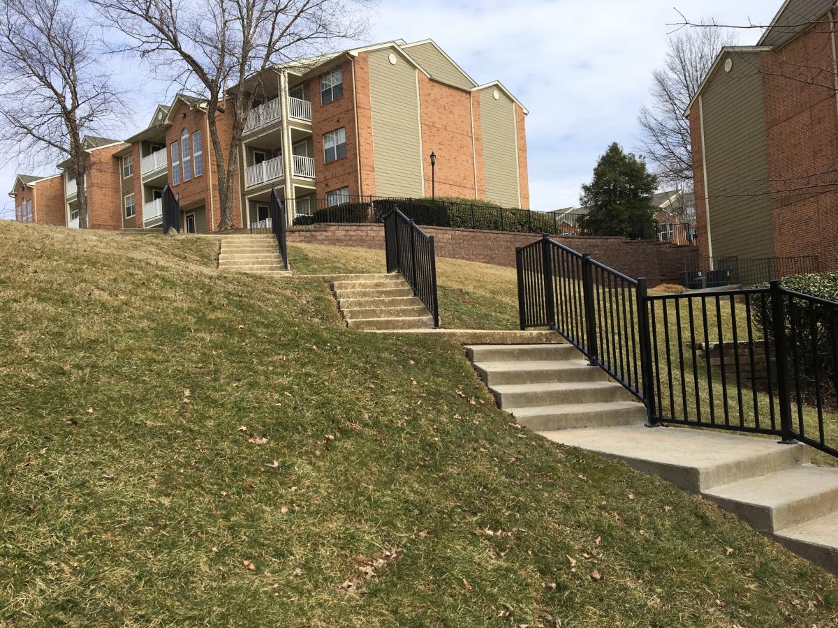 black railing on stairs