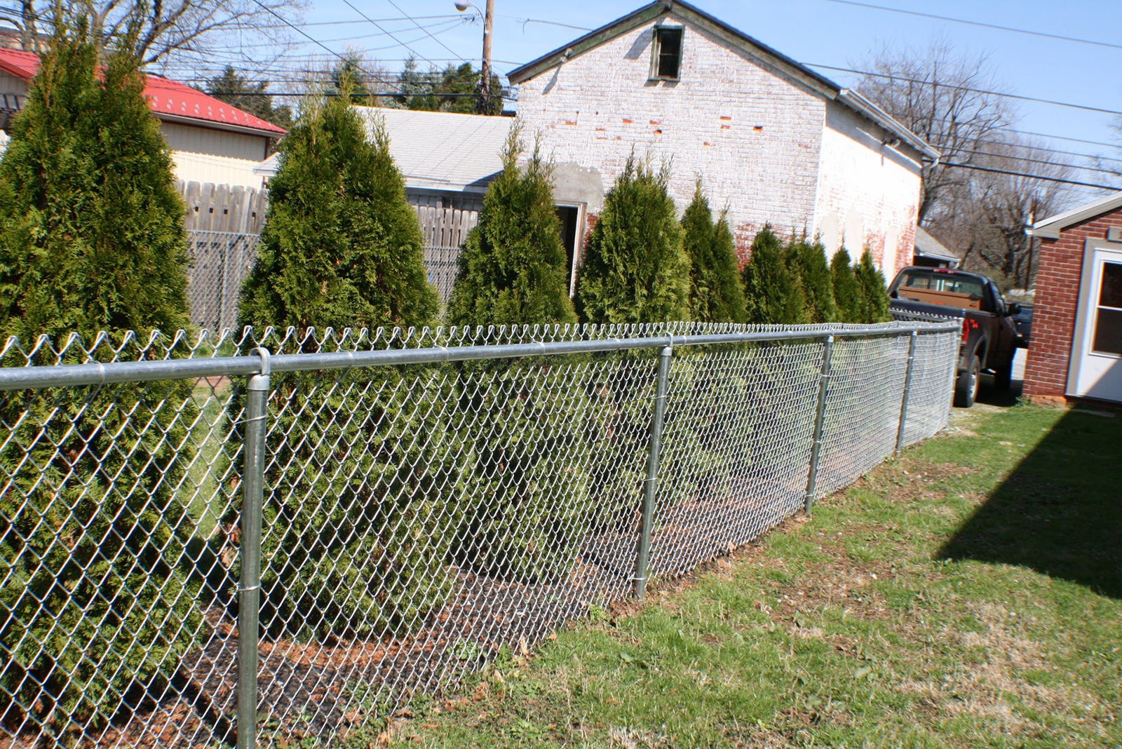 chain link fence with top rail in yard