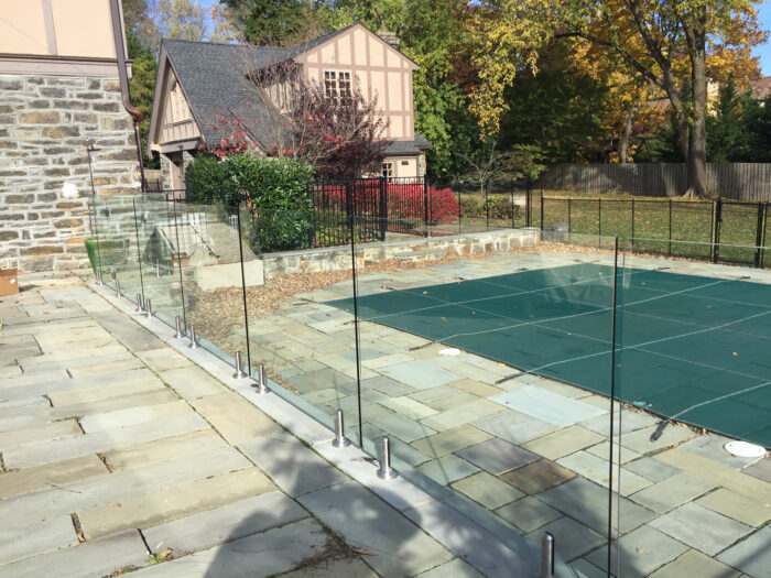 glass fence around pool