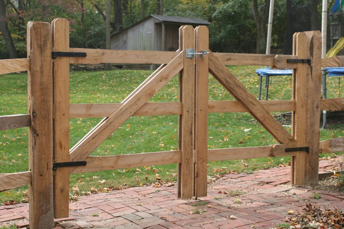 split rail fence double gate