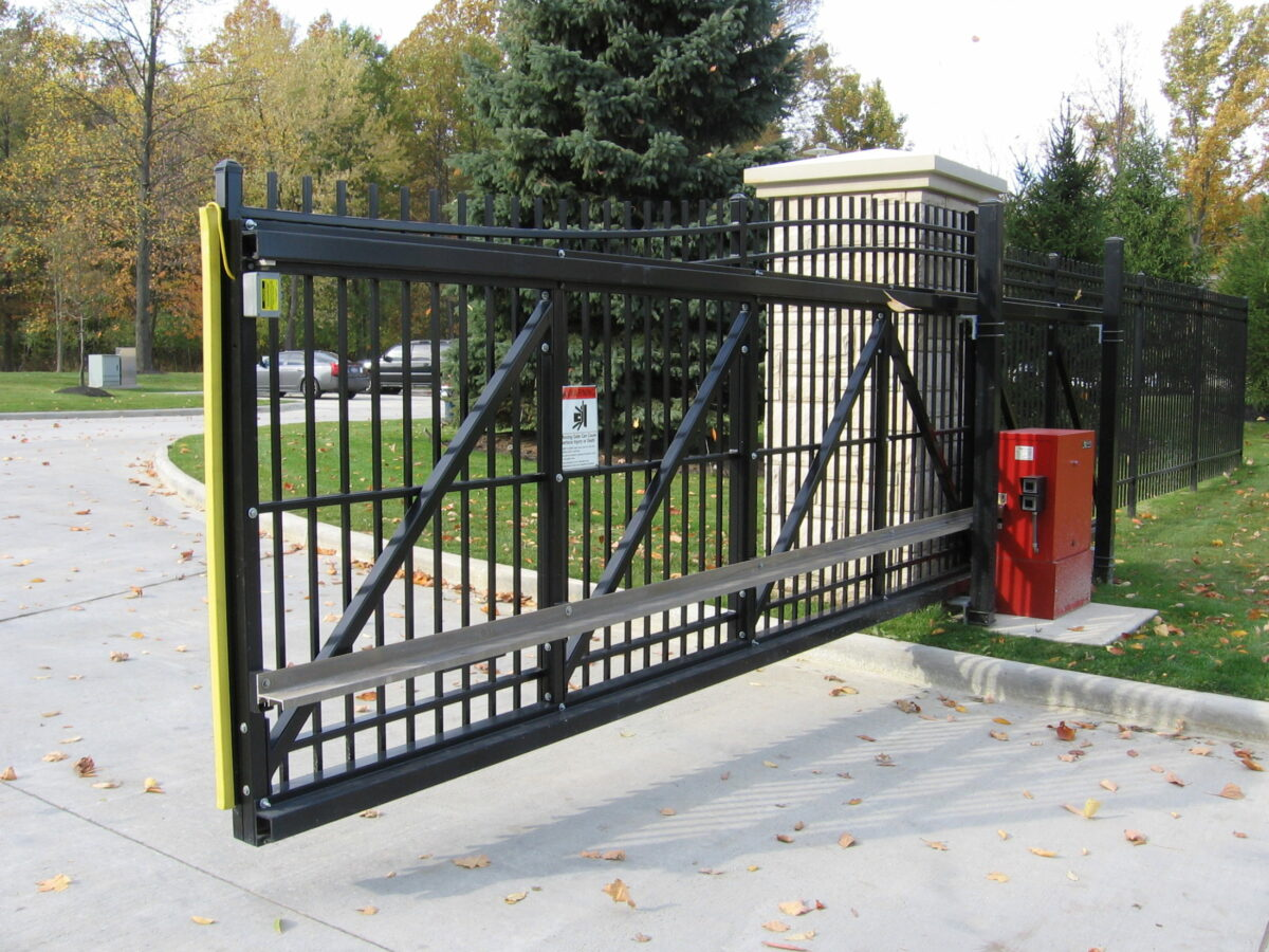 steel driveway gate with automated operator