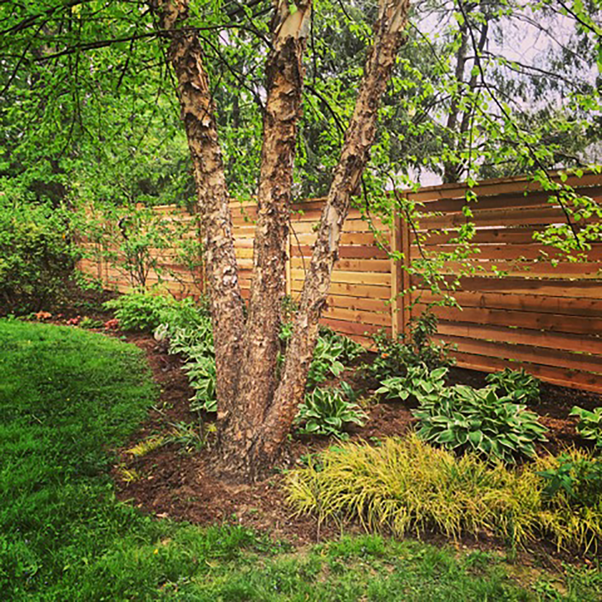 horizontal wooden privacy fence
