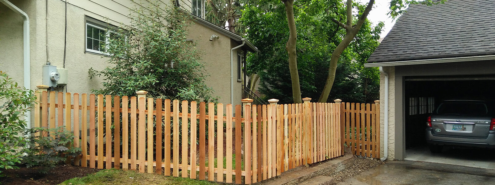 wood picket fence around yard