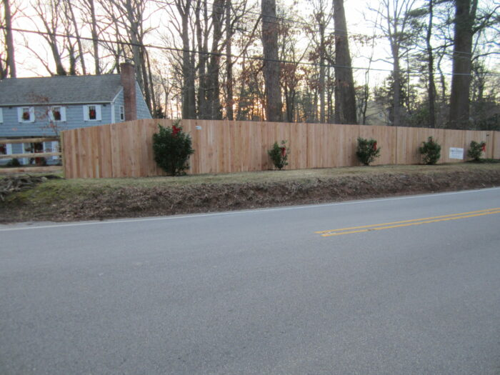 red cedar solid wood sound abatement fence