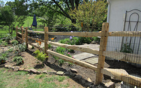 Split rail fence around pool