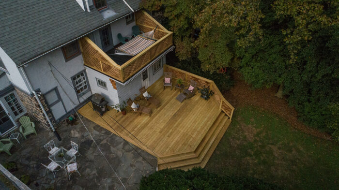 aerial two wood decks