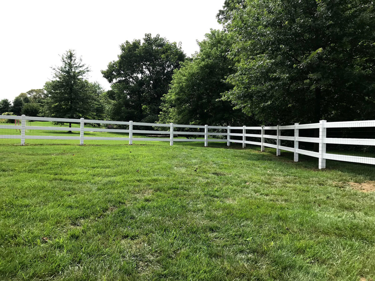 vinyl rail fence with wire mesh