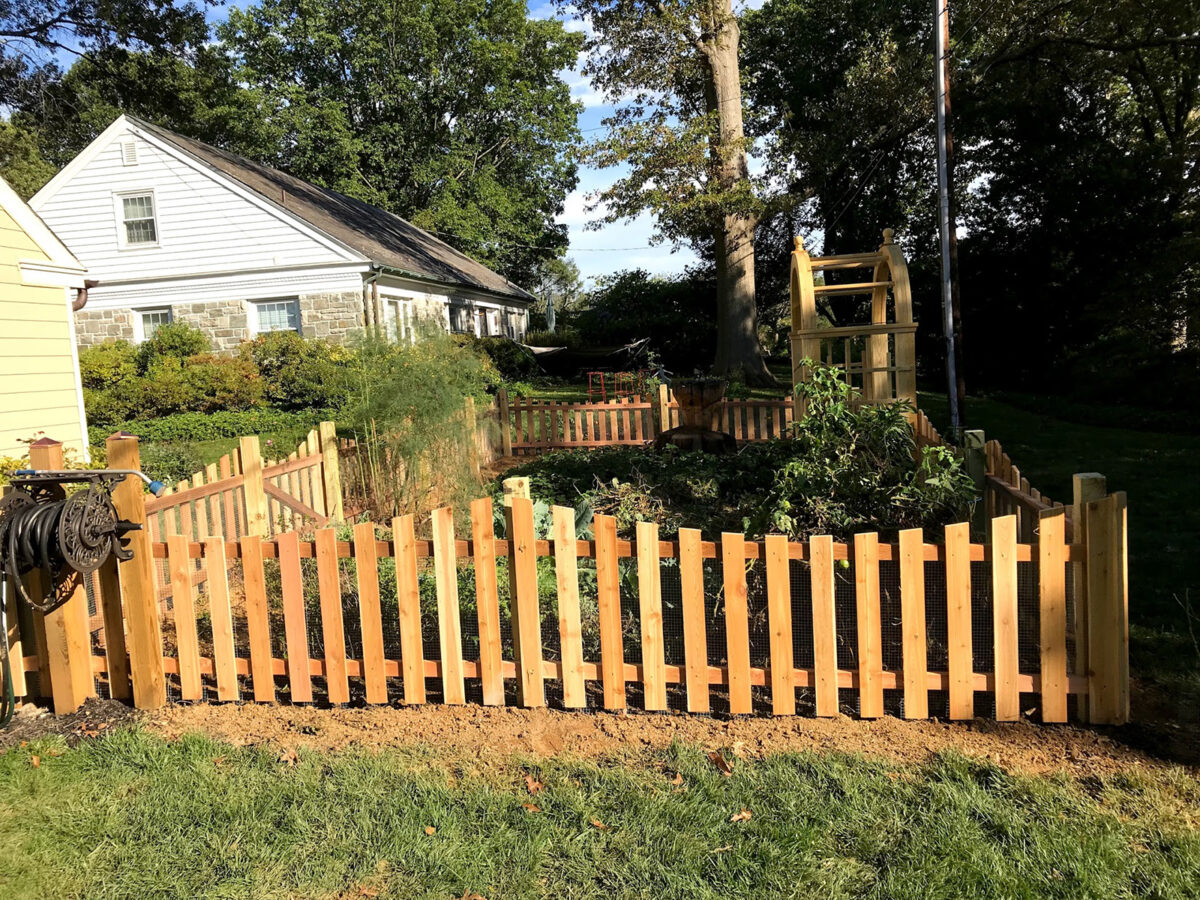 red cedar picket fence around garden