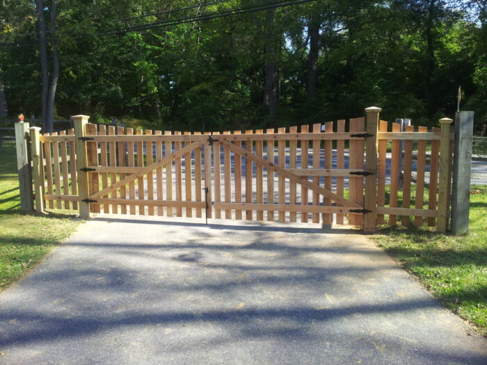 red cedar wood picket driveway gate