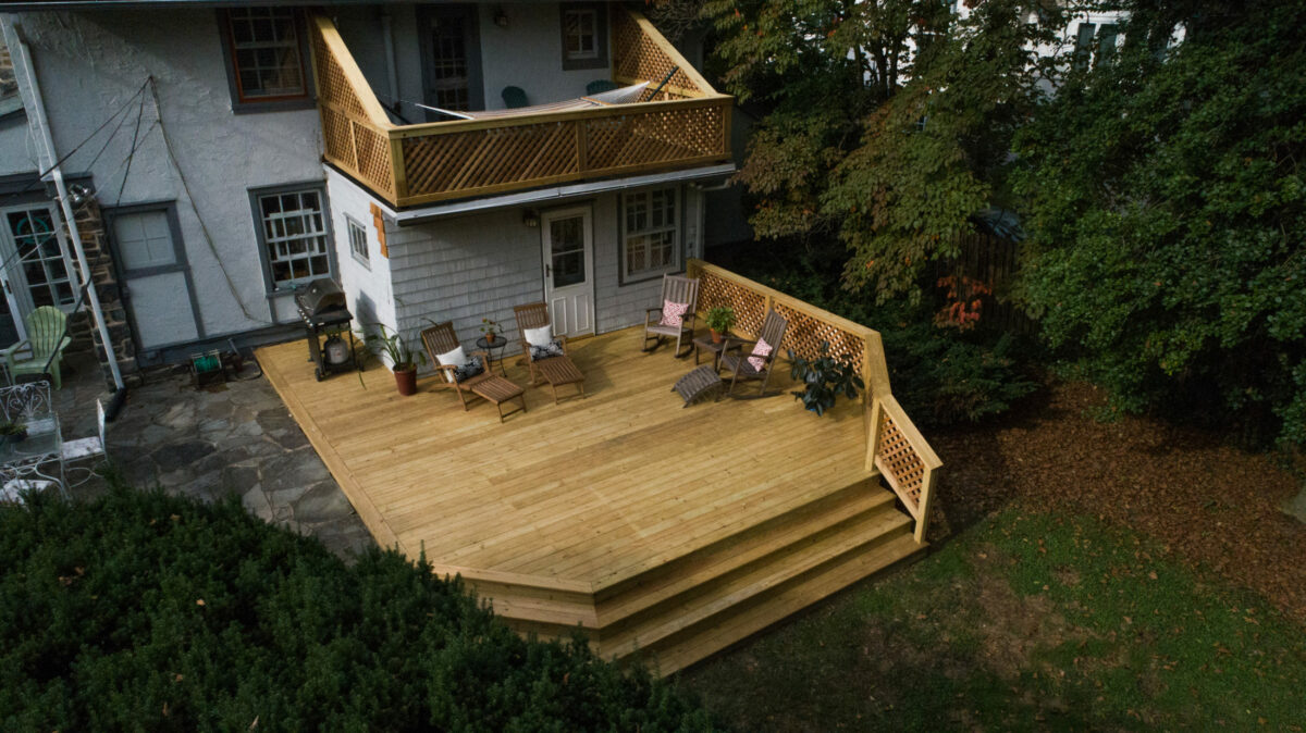 wood decks with a lower and upper level