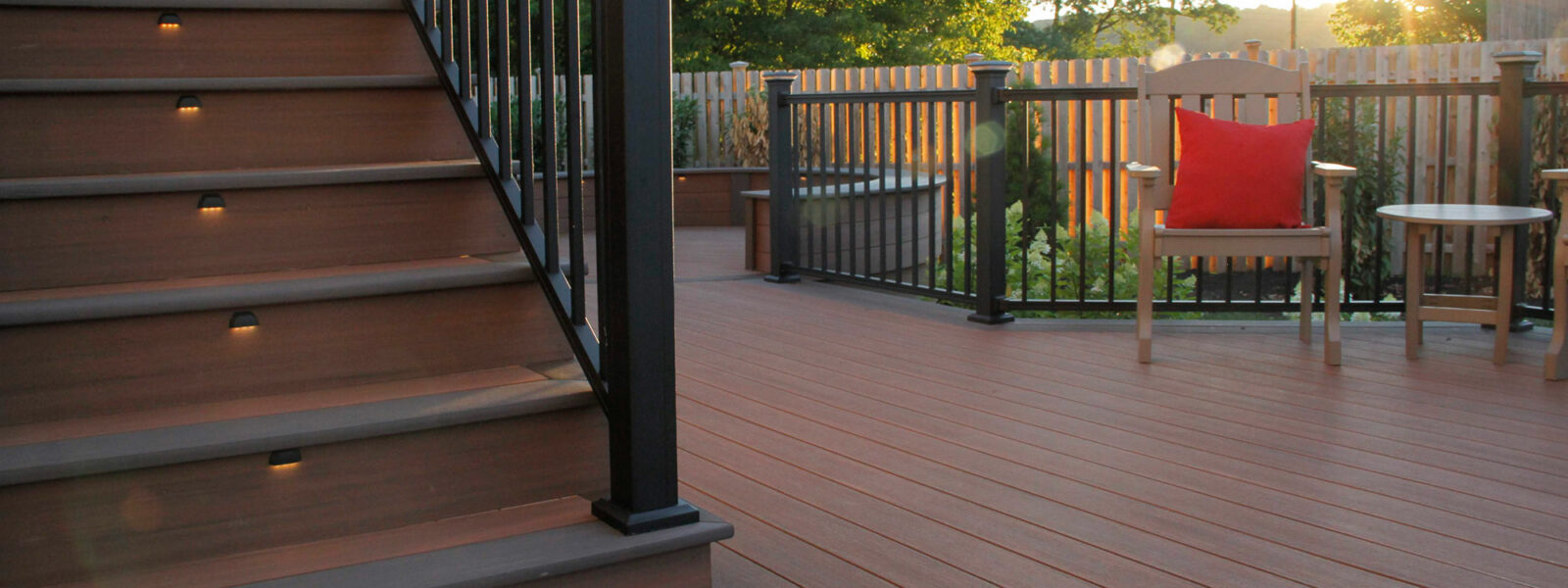 Deck and outdoor stairs built with composite lumber