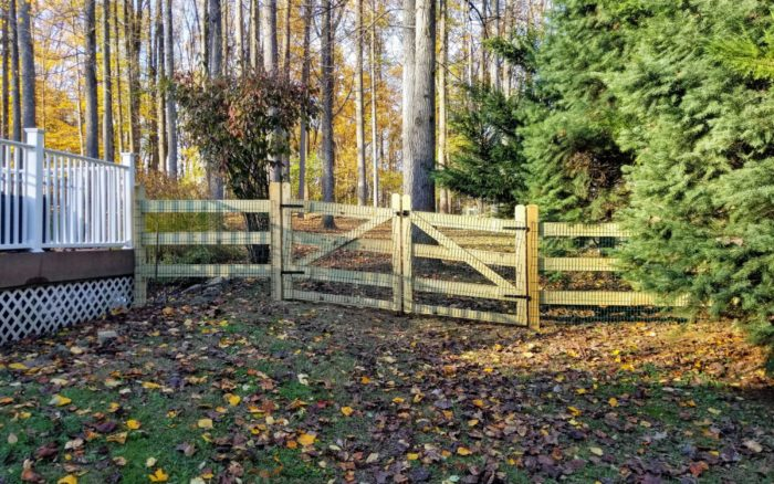 rail fence with wire mesh in yard