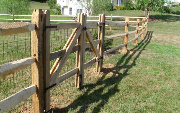 split rail fence with double gate