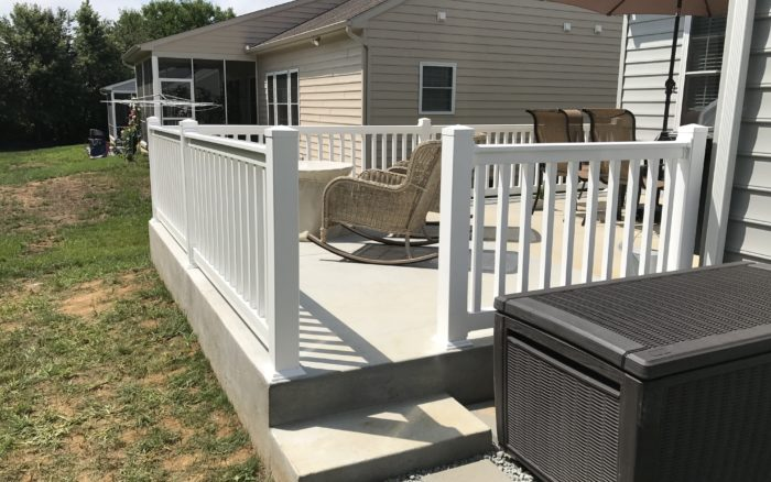 white vinyl railing on porch