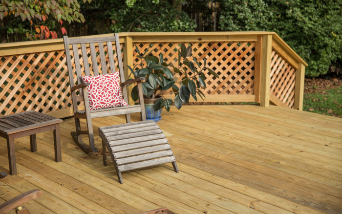 pressure treated deck with furniture