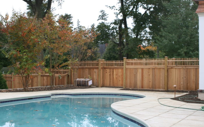 pool fence with patio