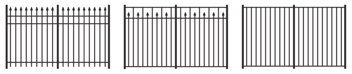 Illustrations of three popular metal fence styles that Integrous offers.