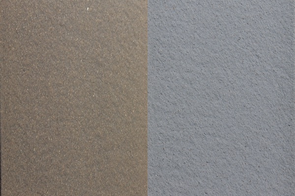 A swatch of Winchester Grey fencing, showing new and weathered colors side by side