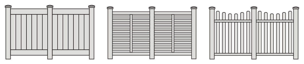 Illustrations of three popular vinyl fence styles that Integrous offers.