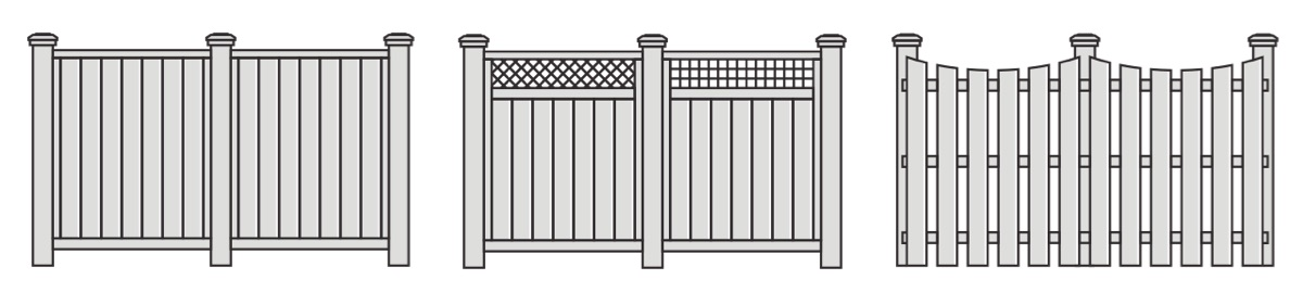 Illustrations of three popular wood fence styles that Integrous offers.