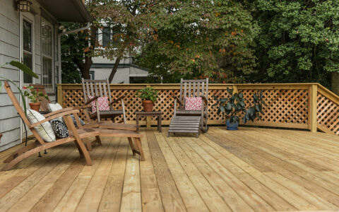 Large wooden deck